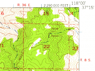 Reduced fragment of topographic map en--usgs--063k--064297--(1951)--N037-15_W118-15--N037-00_W118-00 in area of Tinemaha Reservoir