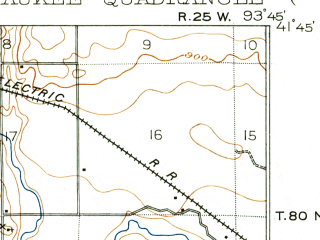 Reduced fragment of topographic map en--usgs--063k--064299--(1908)--N041-45_W094-00--N041-30_W093-45; towns and cities West Des Moines, Clive, Grimes, Van Meter, Waukee
