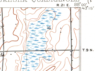 Reduced fragment of topographic map en--usgs--063k--064301--(1906)--N043-15_W088-15--N043-00_W088-00; towns and cities Waukesha, West Allis, Menomonee Falls, Wauwatosa, Brookfield