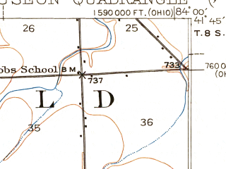 Reduced fragment of topographic map en--usgs--063k--064308--(1911)--N041-45_W084-15--N041-30_W084-00; towns and cities Wauseon, Delta, Lyons, Morenci