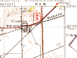 Reduced fragment of topographic map en--usgs--063k--064311--(1924)--N039-45_W090-00--N039-30_W089-45; towns and cities Loami, New Berlin, Thayer