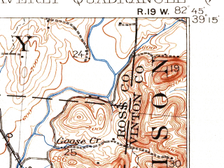 Reduced fragment of topographic map en--usgs--063k--064313--(1906)--N039-15_W083-00--N039-00_W082-45; towns and cities Beaver, Waverly City