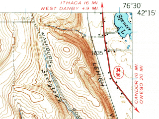 Reduced fragment of topographic map en--usgs--063k--064315--(1954)--N042-15_W076-45--N042-00_W076-30; towns and cities Van Etten, Waverly, Wellsburg