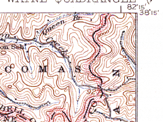 Reduced fragment of topographic map en--usgs--063k--064326--(1941)--N038-15_W082-30--N038-00_W082-15; towns and cities Wayne