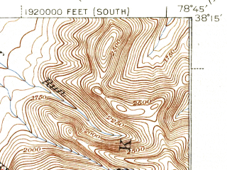 Reduced fragment of topographic map en--usgs--063k--064330--(1939)--N038-15_W079-00--N038-00_W078-45; towns and cities Waynesboro, Crimora, Dooms, Fishersville