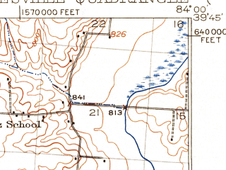 Reduced fragment of topographic map en--usgs--063k--064334--(1913)--N039-45_W084-15--N039-30_W084-00; towns and cities Kettering, Centerville, Beavercreek, Moraine, Oakwood