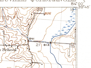 Reduced fragment of topographic map en--usgs--063k--064334--(1915)--N039-45_W084-15--N039-30_W084-00; towns and cities Kettering, Centerville, Beavercreek, Moraine, Oakwood
