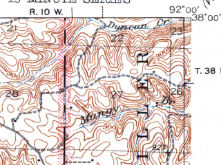 Reduced fragment of topographic map en--usgs--063k--064335--(1944)--N038-00_W092-15--N037-45_W092-00; towns and cities Dixon, St. Robert, Waynesville