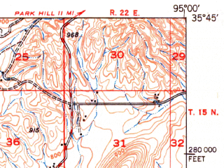 Reduced fragment of topographic map en--usgs--063k--064345--(1950)--N035-45_W095-15--N035-30_W095-00; towns and cities Braggs, Gore, Paradise Hill