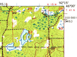 Reduced fragment of topographic map en--usgs--063k--064349--(1955)--N046-00_W092-30--N045-45_W092-15; towns and cities Siren, Webster