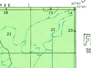 Reduced fragment of topographic map en--usgs--063k--064357--(1939)--N035-45_W091-00--N035-30_W090-45; towns and cities Waldenburg, Weiner