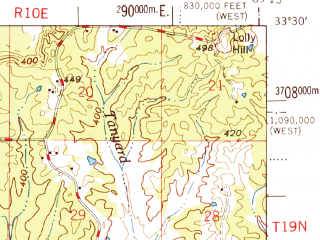 Reduced fragment of topographic map en--usgs--063k--064360--(1968)--N033-30_W089-30--N033-15_W089-15; towns and cities Weir, French Camp
