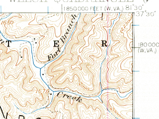 Reduced fragment of topographic map en--usgs--063k--064362--(1924)--N037-30_W081-45--N037-15_W081-30; towns and cities Welch, Davy, Gary