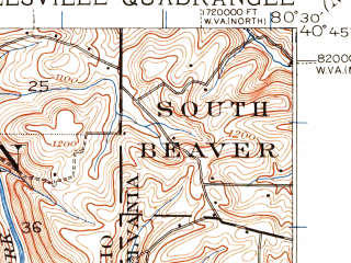 Reduced fragment of topographic map en--usgs--063k--064377--(1937)--N040-45_W080-45--N040-30_W080-30; towns and cities East Liverpool, Glasgow, Glenmoor, Irondale