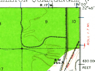 Reduced fragment of topographic map en--usgs--063k--064380--(1926)--N032-45_W114-15--N032-30_W114-00; towns and cities Wellton