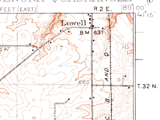 Reduced fragment of topographic map en--usgs--063k--064390--(1934)--N041-15_W089-15--N041-00_W089-00; towns and cities Wenona, Lostant, Magnolia