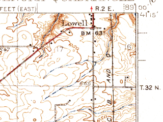 Reduced fragment of topographic map en--usgs--063k--064390--(1939)--N041-15_W089-15--N041-00_W089-00; towns and cities Wenona, Lostant, Magnolia