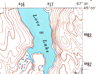 Reduced fragment of topographic map en--usgs--063k--064396--(1941)--N045-00_W067-45--N044-45_W067-30 in area of Bog Lake
