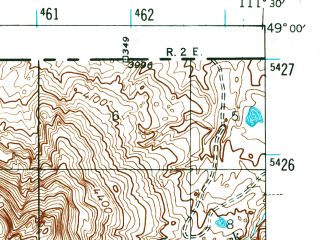 Reduced fragment of topographic map en--usgs--063k--064400--(1945)--N049-00_W111-45--N048-45_W111-30