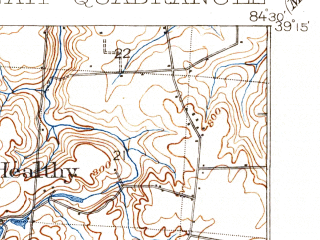 Reduced fragment of topographic map en--usgs--063k--064404--(1914)--N039-15_W084-45--N039-00_W084-30; towns and cities Cincinnati, Covington, North College Hill, Erlanger, Northbrook