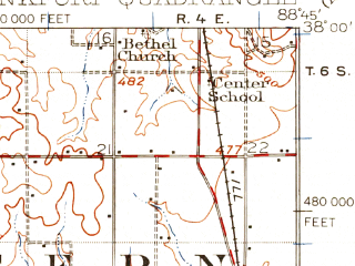 Reduced fragment of topographic map en--usgs--063k--064408--(1941)--N038-00_W089-00--N037-45_W088-45; towns and cities West Frankfort, Thompsonville, West City, Whiteash