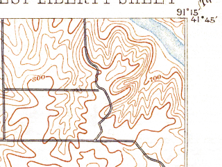Reduced fragment of topographic map en--usgs--063k--064409--(1894)--N041-45_W091-30--N041-30_W091-15; towns and cities West Branch, West Liberty