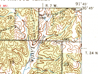 Reduced fragment of topographic map en--usgs--063k--064414--(1946)--N036-45_W092-00--N036-30_W091-45; towns and cities West Plains