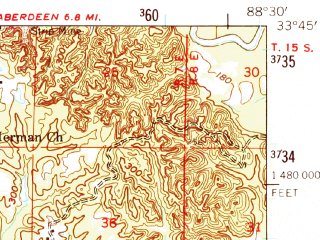 Reduced fragment of topographic map en--usgs--063k--064415--(1959)--N033-45_W088-45--N033-30_W088-30; towns and cities West Point