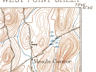 Reduced fragment of topographic map en--usgs--063k--064416--(1892)--N041-30_W074-00--N041-15_W073-45; towns and cities Peekskill, Jefferson Valley-yorktown, West Point, Yorktown Heights, Nelsonville