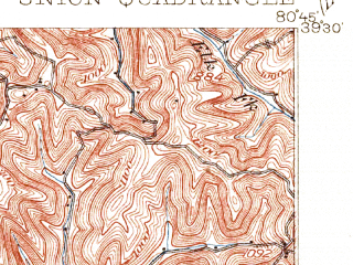 Reduced fragment of topographic map en--usgs--063k--064420--(1905)--N039-30_W081-00--N039-15_W080-45; towns and cities Middlebourne, Pennsboro, West Union