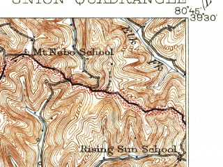 Reduced fragment of topographic map en--usgs--063k--064420--(1926)--N039-30_W081-00--N039-15_W080-45; towns and cities Middlebourne, Pennsboro, West Union