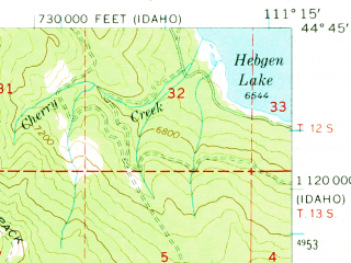 Reduced fragment of topographic map en--usgs--063k--064421--(1964)--N044-45_W111-30--N044-30_W111-15 in area of Henry Lake; towns and cities Island Park
