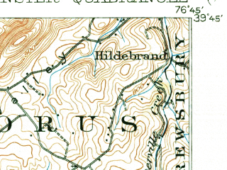 Reduced fragment of topographic map en--usgs--063k--064434--(1905)--N039-45_W077-00--N039-30_W076-45; towns and cities Hampstead, Manchester, Westminster South