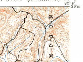 Reduced fragment of topographic map en--usgs--063k--064437--(1926)--N039-15_W080-30--N039-00_W080-15; towns and cities Jane Lew, Lost Creek, Stonewood