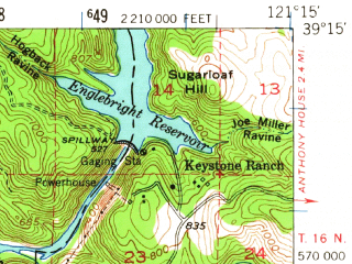 Reduced fragment of topographic map en--usgs--063k--064450--(1949)--N039-15_W121-30--N039-00_W121-15 in area of Camp Far West Reservoir; towns and cities Beale Afb, Wheatland