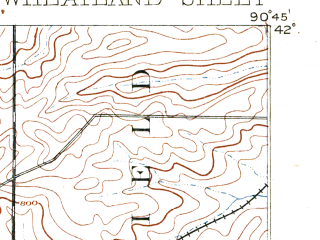 Reduced fragment of topographic map en--usgs--063k--064451--(1892)--N042-00_W091-00--N041-45_W090-45; towns and cities Calamus, Lost Nation, Lowden