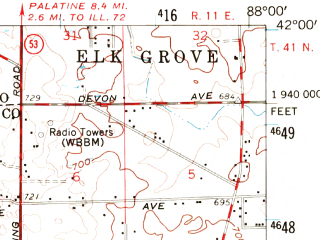 Reduced fragment of topographic map en--usgs--063k--064454--(1954)--N042-00_W088-15--N041-45_W088-00; towns and cities Naperville, Wheaton, Downers Grove, Glen Ellyn, Roselle