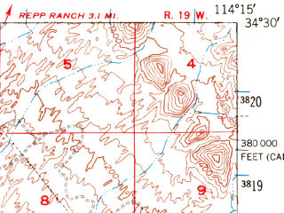 Reduced fragment of topographic map en--usgs--063k--064461--(1950)--N034-30_W114-30--N034-15_W114-15
