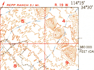 Reduced fragment of topographic map en--usgs--063k--064461--(1952)--N034-30_W114-30--N034-15_W114-15