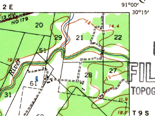 Reduced fragment of topographic map en--usgs--063k--064469--(1936)--N030-15_W091-15--N030-00_W091-00; towns and cities Carville, White Castle