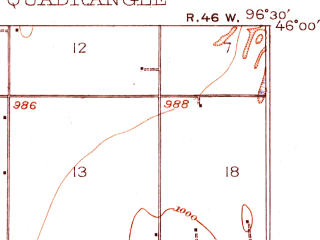 Reduced fragment of topographic map en--usgs--063k--064486--(1918)--N046-00_W096-45--N045-45_W096-30 in area of Mud Lake, Clubhouse Lake; towns and cities Rosholt, White Rock