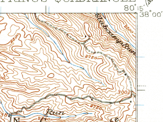 Reduced fragment of topographic map en--usgs--063k--064488--(1935)--N038-00_W080-30--N037-45_W080-15; towns and cities Fairlea, Falling Spring, Lewisburg