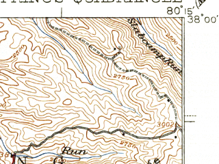 Reduced fragment of topographic map en--usgs--063k--064488--(1939)--N038-00_W080-30--N037-45_W080-15; towns and cities Fairlea, Falling Spring, Lewisburg