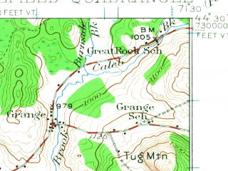 Reduced fragment of topographic map en--usgs--063k--064492--(1935)--N044-30_W071-45--N044-15_W071-30; towns and cities Lancaster, Whitefield