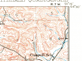 Reduced fragment of topographic map en--usgs--063k--064494--(1926)--N044-30_W091-30--N044-15_W091-15; towns and cities Arcadia, Independence, Whitehall