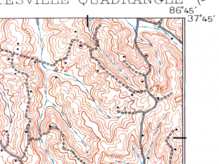 Reduced fragment of topographic map en--usgs--063k--064496--(1907)--N037-45_W087-00--N037-30_W086-45; towns and cities Whitesville