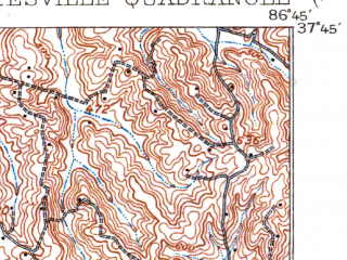 Reduced fragment of topographic map en--usgs--063k--064496--(1909)--N037-45_W087-00--N037-30_W086-45; towns and cities Whitesville