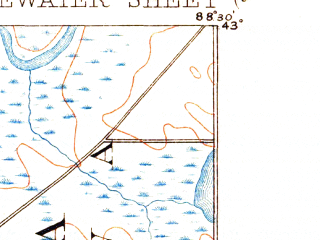Reduced fragment of topographic map en--usgs--063k--064500--(1893)--N043-00_W088-45--N042-45_W088-30 in area of Green Lake; towns and cities Whitewater, Palmyra