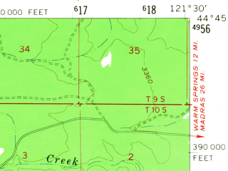 Reduced fragment of topographic map en--usgs--063k--064503--(1961)--N044-45_W121-45--N044-30_W121-30