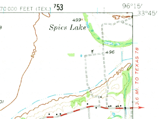 Reduced fragment of topographic map en--usgs--063k--064504--(1958)--N033-45_W096-30--N033-30_W096-15; towns and cities Bells, Ector, Savoy